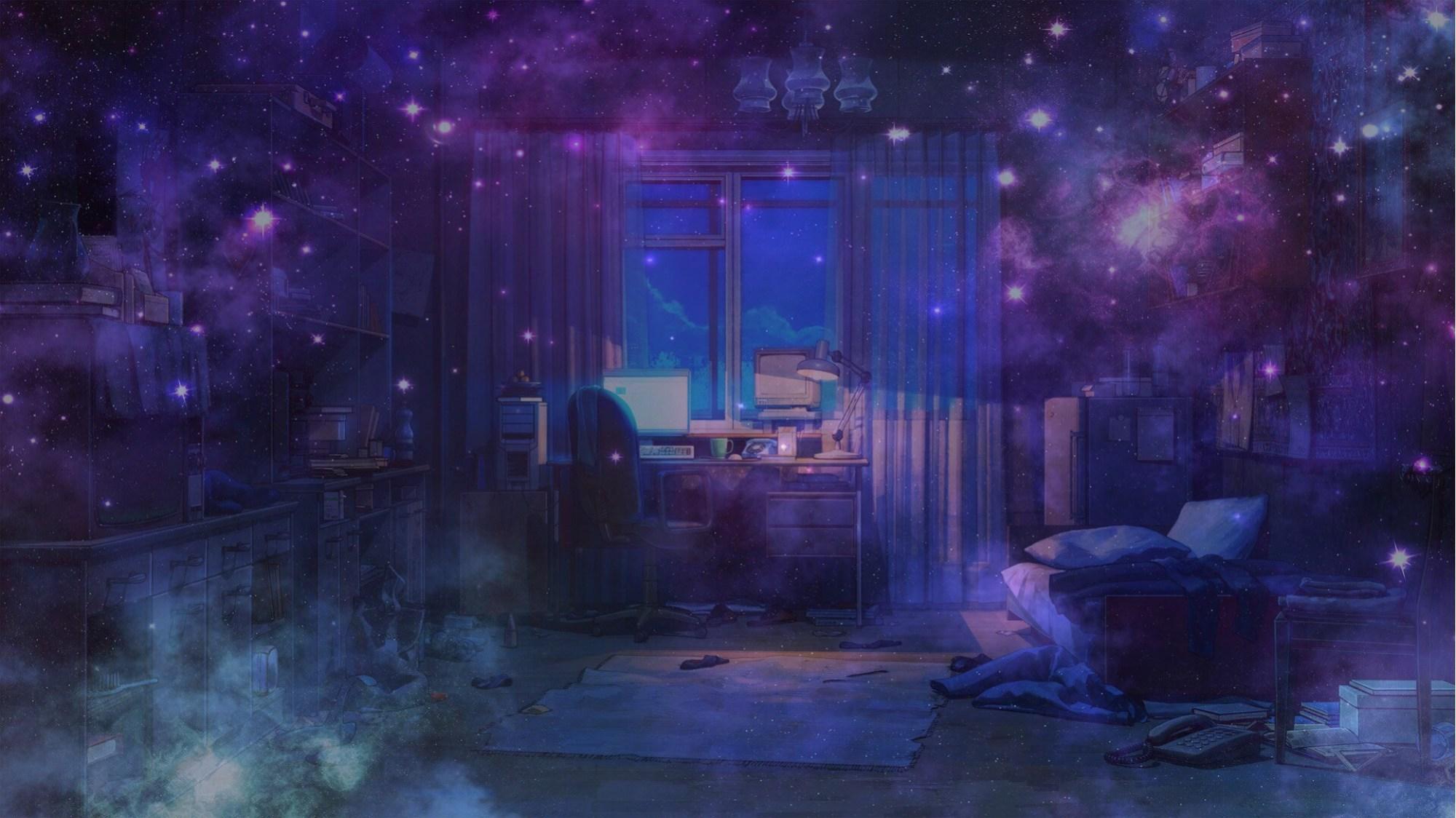 Фото аниме комната вечером