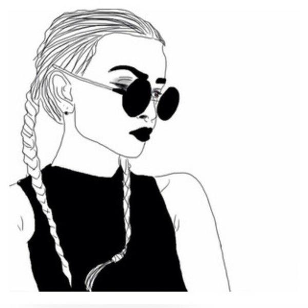 Черно-белые рисунки девушек для распечатки